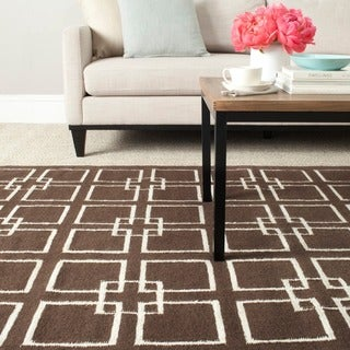 Martha Stewart Square Dance Tilled Soil Brown Wool/ Banana Silk Rug