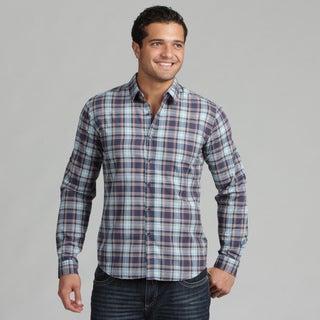 191 Unlimited Mens Blue Plaid Woven Shirt