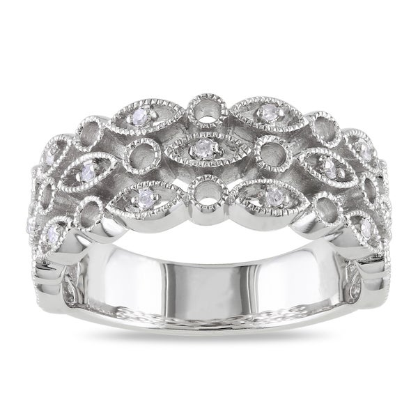 Haylee Jewels Sterling Silver Round-cut Diamond Accent Ring
