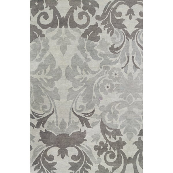 Hand-tufted Grey/ Blue-grey Wool Area Rug
