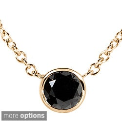 Annello 14k Yellow, White, or Rose Gold 1/4ct TDW Black Diamond Solitaire Bezel Necklace