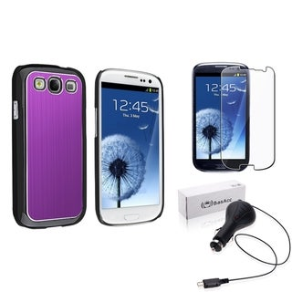Purple BasAcc Case/Screen Protector/Charger for Samsung� Galaxy SIII/S3