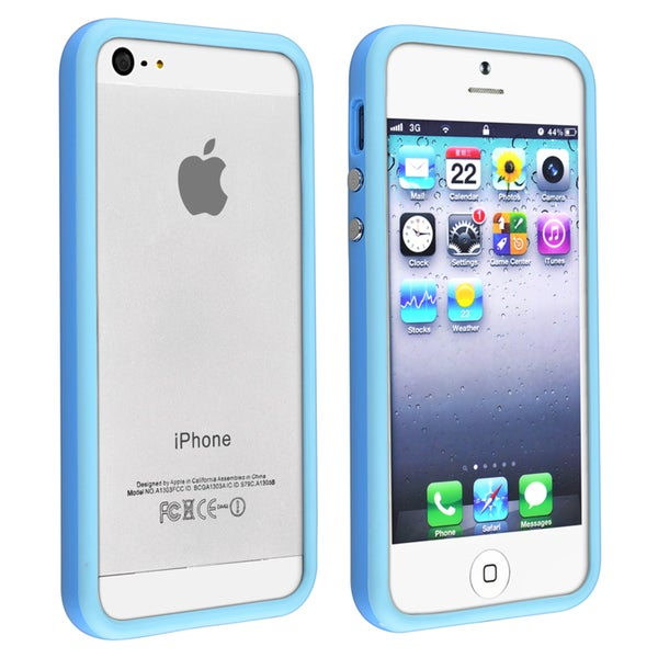INSTEN TPU Bumper Phone Case Cover with Aluminum Button for Apple iPhone 5/ 5S