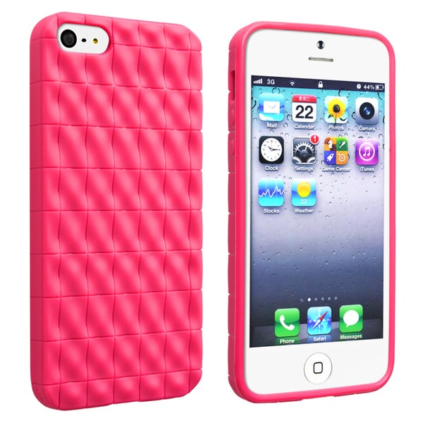 BasAcc Hot Pink 3D Wave TPU Rubber Case for Apple Phone 5