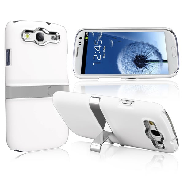 INSTEN White/ Silver Case Cover with Stand for Samsung Galaxy SIII/ S3 i9300