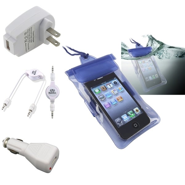 INSTEN Blue Waterproof Bag/ Chargers/ Cable for Apple iPhone/ iPod
