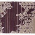 Indo-Tibetan Abstract Dark Ivory Wool Blend Rug (5&#39;6 x 8&#39;6)