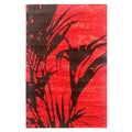 Indo-Tibetan Abstract True Red Wool Blend Rug (5'6 x 8'6)