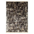 Hand-knotted Oriental Liquorice Wool/ Silk Rug (8&#39; x 10&#39;)