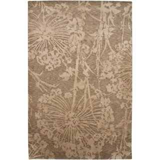 Indo-Tibetan Abstract Light Gold Wool/ Silk Rug (5'6 x 8'6)