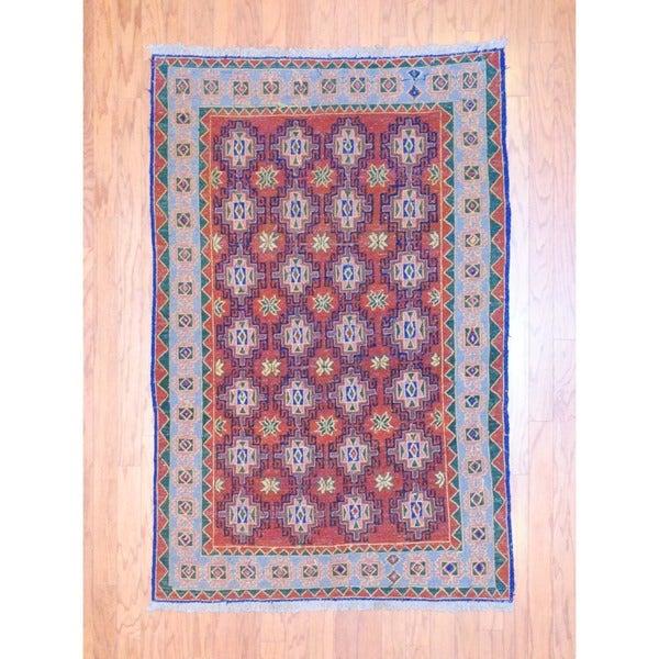 Afghan Hand-knotted Tribal Soumak Rust/ Green Wool Rug (3'9 x 5'8)