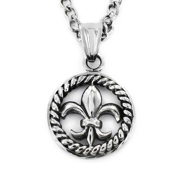 Stainless Steel Rope Medallion Framed Royal Fleur De Lis Necklace