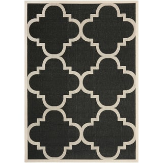 Safavieh Courtyard Black/ Beige Indoor Outdoor Polypropylene Rug