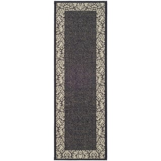 """Safavieh Black/Gray Indoor/Outdoor Area Rug (2'2"""" x 12')"""