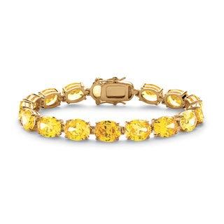 """PalmBeach 38.10 TCW Oval Cut Canary Yellow Cubic Zirconia 14k Yellow Gold-Plated Tennis Bracelet 7 1/2"""" Glam CZ"""