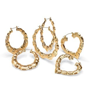 PalmBeach 14k Gold-plated Bamboo-style Hoop Earrings (Set of 3) Bold Fashion