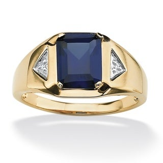 PalmBeach 18k Gold over Sterling Silver Men's Lab-Created Blue Sapphire and Diamond Accent Ring
