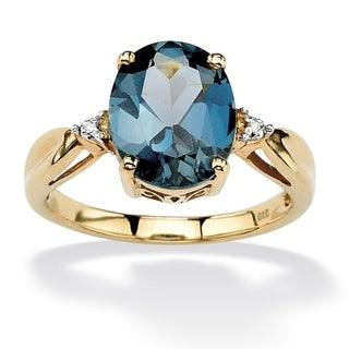 PalmBeach 18k Gold over Sterling Silver London Blue Topaz and Diamond Accent Ring