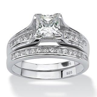 PalmBeach CZ Platinum over Silver Princess-Cut and Channel-Set Round CZ Wedding Ring Set Classic CZ