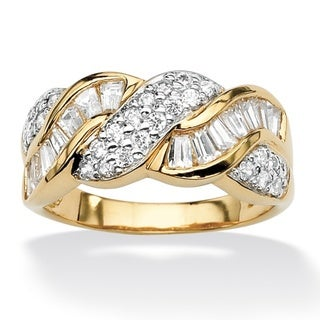 PalmBeach CZ 18k Gold over Sterling Silver Round and Baguette Cubic Zirconia Braid Ring Classic CZ