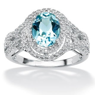 PalmBeach Platinum over Sterling Silver Oval-Cut Blue Topaz and Diamond Accent Ring