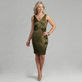 Issue New York Women's Military Green Satin Cocktail Dress