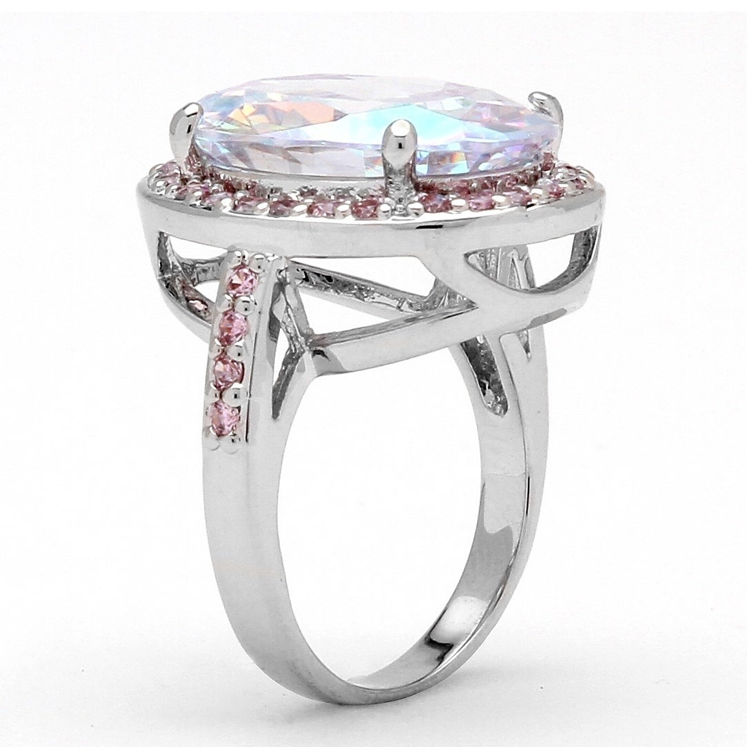 Eziba Collection Lillith Star Silvertone Aurora Borealis and Pink Cubic Zirconia Ring at Sears.com