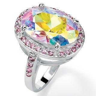 PalmBeach Silvertone Aurora Borealis and Pink Cubic Zirconia Ring Color Fun