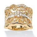 PalmBeach CZ 14k Goldplated 1.21 CT TW Cubic Zirconia Curled Concave Ring Glam CZ
