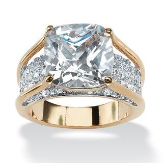 PalmBeach 4.88 TCW Cushion Princess-Cut Cubic Zirconia 14k Gold-Plated Engagement Anniversary Ring Glam CZ