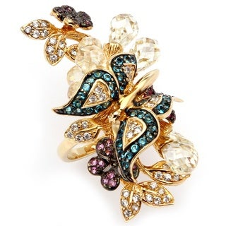 PalmBeach 18k Goldplated 17.18 CT TW Cubic Zirconia and Glass Butterfly Ring Color Fun
