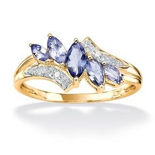 PalmBeach Gold over Silver Tanzanite and Diamond Accent Ring