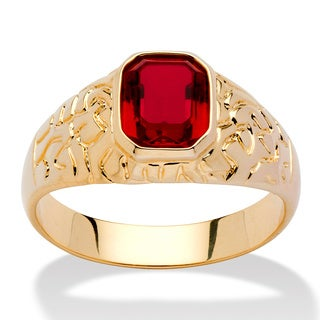 Neno Buscotti Men's Simulated Ruby Nugget-Style Ring in 14k Gold-Plated