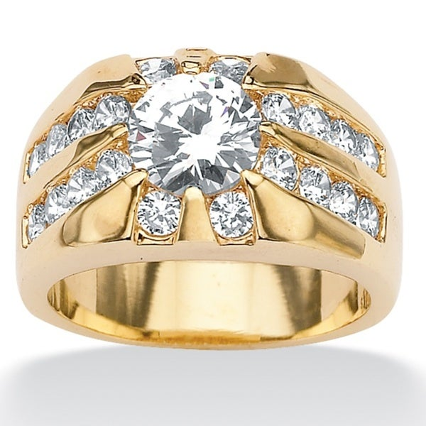 PalmBeach CZ Men's 14k Gold-plated Cubic Zirconia Ring