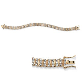 PalmBeach 14k Gold-plated Diamond Accent Tennis Bracelet