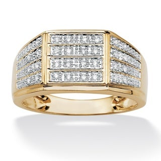 PalmBeach Men's 18k Gold over Silver Diamond Ring (H-I, I1-I2)