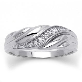 PalmBeach Platinum over Silver Diamond Accent Wedding Band Men's