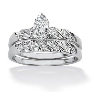 PalmBeach Platinum over Silver Diamond Ring (G-H, I2-I3)
