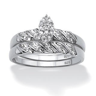 Isabella Collection Platinum over Silver Diamond Ring