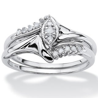 PalmBeach Platinum/ Silver 1/5ct TDW Diamond Bridal Ring Set (H-I, I2-I3)