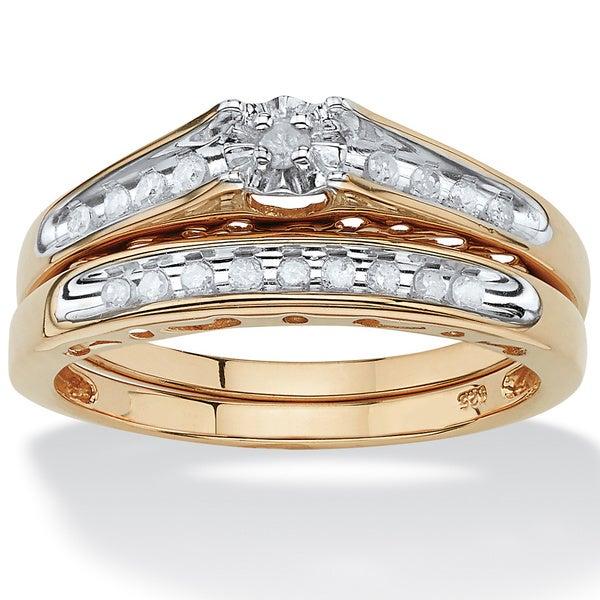 PalmBeach 18k Gold/Silver 1/5 TCW Round Diamond Channel-Set Two-Piece Bridal Set