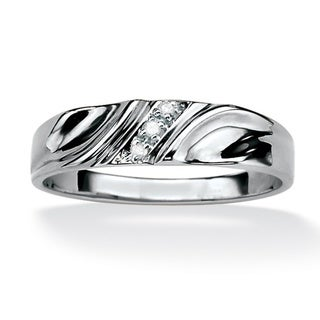 PalmBeach Men's Diamond Accent Platinum over Sterling Silver Diagonal-Set Wedding Band