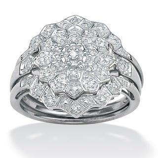 PalmBeach Platinum/ Silver 1/6ct TDW Diamond Ring Set (H-I, I2-I3)