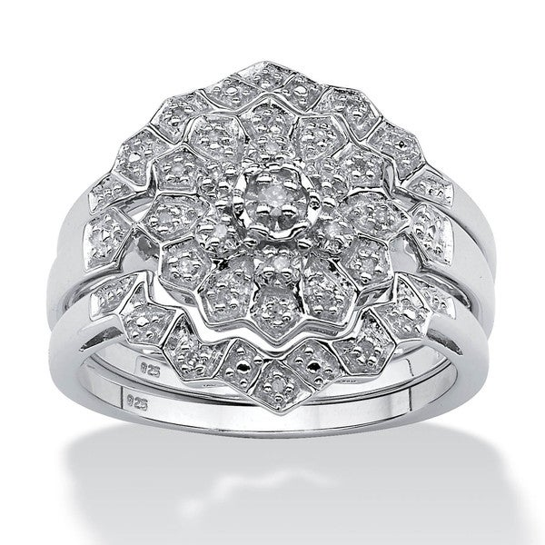 PalmBeach Platinum/ Silver 1/6ct TDW Diamond Ring Set (H-I, I2-I3)