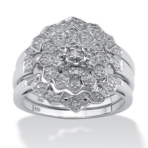 PalmBeach Platinum/Silver 1/7 TCW Round Diamond 3-Piece Bridal Wedding Ring Set