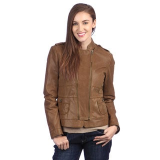 United Face Women's Brown Leather Double-zip Jacket