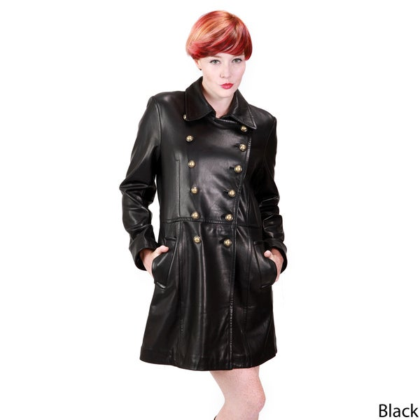 Ramonti Women's Leather Double-breasted Military Coat