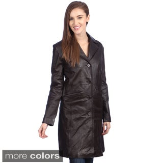 United Face Women's Leather Walking Trench Coat