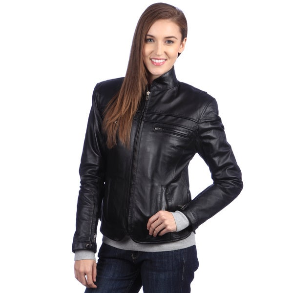 United Face Women's Fitted Leather Motorcycle Jacket