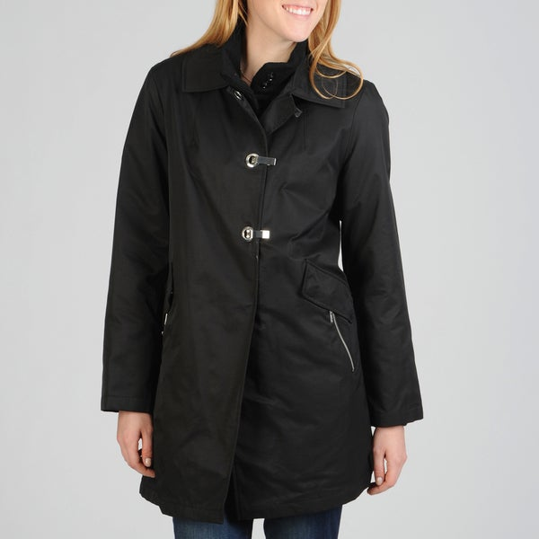 Hilary Radley Women's Clip Front Rain Coat w/Removable Warmer
